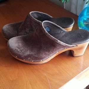 UGG Chocolate Brown Suede Shearling Wood Clogs 8